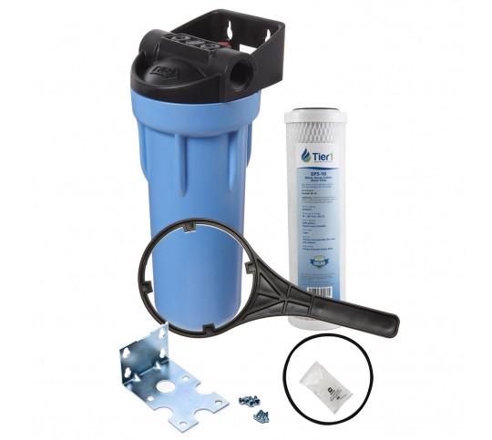Tier1 Water Filtration System - 10 inch Slim PP Filter Housing with Pressure Release and Carbon Filter Kit (3/4 inch Inlet/Outlet)