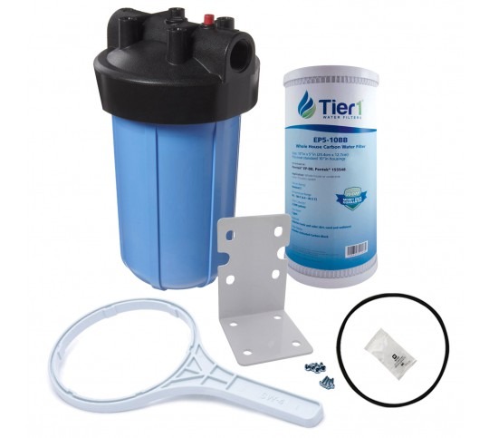 Tier1 Water Filtration System - 10 inch Big PP Filter Housing with Pressure Release and Carbon Filter Kit (1 inch Inlet/Outlet)
