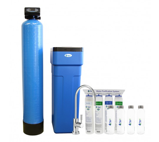 48,000 Grain Capacity Tier1 Water Softener and 4-Stage Ultra-Filtration  Hollow Fiber Drinking Water Filter System Kit
