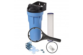 Tier1 Water Filtration System - 10 inch Slim PP Filter Housing with Pressure Release and Pleated Filter Kit (3/4 inch Inlet/Outlet)