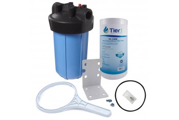 Tier1 Water Filtration System - 10 inch Big PP Filter Housing with Pressure Release and Sediment Filter Kit (1 inch Inlet/Outlet)