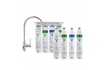 Tier1 4-Stage Under Sink Hollow Fiber Drinking Water Filter System PLUS Quick Change Replacement Filter Set