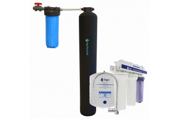 Tier1 Eco Series Whole House Water Filtration System for Chlorine, Taste & Odor Reduction - with Under Sink Reverse Osmosis System